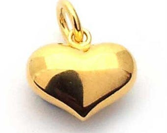 14mm puffed heart charm gold on st. silver, gold plated sterling silver heart charm , puffy gold heart charm , vermeil heart charm