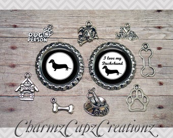 10pc Dachshund Dog Charm Set/Lot/Collection with Bottle Caps / Jewelry, Scrapbooking, Crafts / Jewelry and/or Crafting Kit / Choose Images