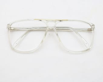 "Rare 80's Vintage ""MONSIEUR"" Clear Double-Bridged Eyeglass Frames"