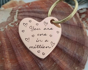 You are one in a million - Hand Stamped Mother's Day Copper Heart Keyring - Mum gifts - mum quote - lovely mum - Best Mom - Mom quote