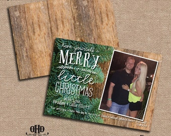 CUSTOM Christmas/Holiday Card - Christmas Rustic Pine Tree and Wood
