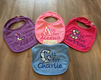 Personalized baby bib, b is for baby
