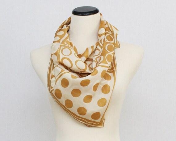 Vera Neumann Silk Scarf - Vintage 1960s Tan and White Scarf - Mod Polka Dot 60s Vera Scarf