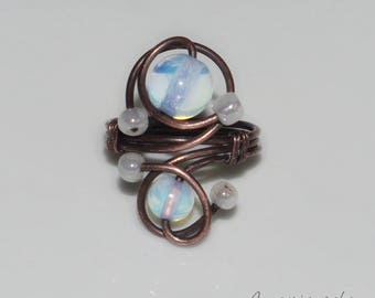 Copper ring with opalite moonstone