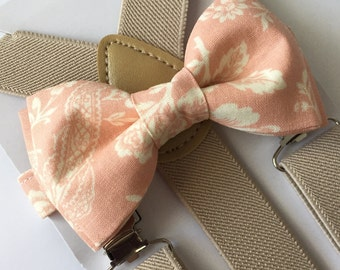 Light Pink Antic Floral Bow tie/Cream/Beige Suspenders Set. Kids/Adults