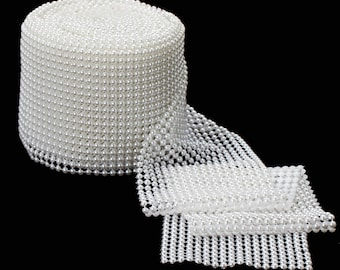 2yards 6MM Pearl Mesh Roll WHITE, pearl trim, plastic pearl mesh fabric, pearl banding (item: 85-0091)