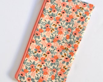 Pink Floral Pen Bag, Floral Pencil Pouch, Makeup Brush Bag, Peach Cosmetic Bag Rifle Paper Zip Bag Bridesmaid Gift Girly Pencil Case for her