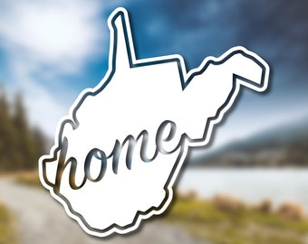 West Virginia State Home Decal // West Virginia Decal // Vinyl Decal // Car Decal // State Decal // Home State Decal // Bumper Sticker