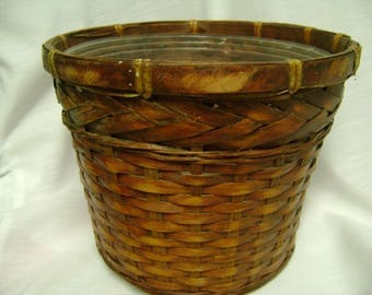 Vintage Basket Planter Antique Woven Sturdy Liner