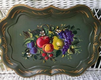 Vintage Large Green Long Tole Tray, Fruit Design, Nashco, Vintage Gift, Wedding Gift, Garden Party, Collectible, Cottage Style, Decorate,  R