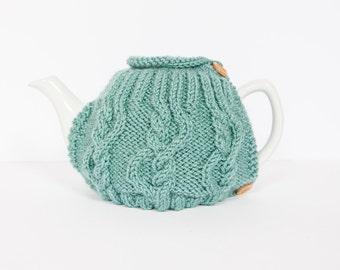 Teal hand knit tea cosy - Teapot cosy - Wool tea cosy - Teapot cover & warmer - Vintage tea cosy - Retro tea cosy - Tea lover's gift