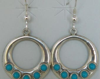 Old Pawn Navajo Turquoise Sterling Silver Circle Native American Earrings 1970s