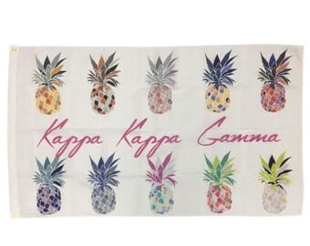 Kappa Kappa Gamma Pineapple Pop-Art Flag kkg