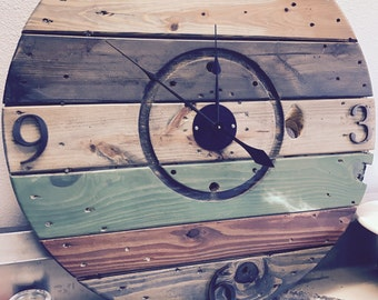 Mutil Colored Reclaimed Wood Spool Clock