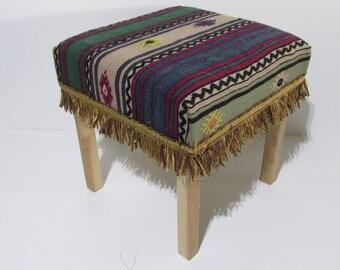kilim stool vintage decorations kilim ottoman african decor kilim footstool boho chic decor home design rustic furniture wooden stool Z029
