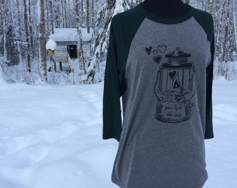light the way, baseball t shirt, Snowdandi Arts, Snowdandi, Alaska, Hand Screen printed, lantern, Valentine's Day
