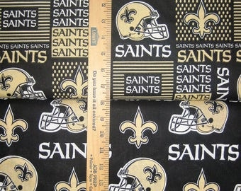 New Orleans Saints NFL Logo Black & Gold Cotton Fabric by Fabric Traditions! [Choose Your Cut Size]