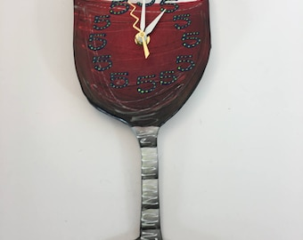 Clock, Red Wine Glass Clock