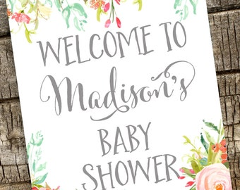 Floral Welcome Sign, Watercolor Floral Shower Sign, Personalized Shower Printable, Welcome Baby Shower Sign, Baby Shower Sign,