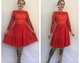 Vintage 1950's Red and Orange Lace Illusion Bust Dress