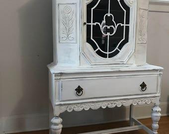 Vintage White Hutch - Chalk Paint Distressed