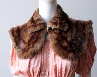 Vintage 1940's Striped Auburn Mink Fur Collar, Silk Lined