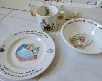 Wedgewood Peter Rabbit Beatrix Potter Three Piece Child's Dish Set Cup Bowl Plate Vintage Nursery Set Traditional Mid-century