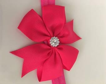 FUCHSIA Bow Headband w/ Embellishment