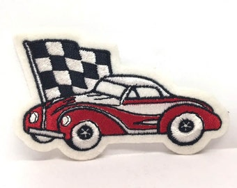 Car Patch Race Car Patch Red Racecar Patches Uniform Car Stitch On Checkered Flag Gas Station