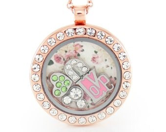 Rose Gold Circle w/ Rhinestone Circle Floating Locket with Choice of 6 Charms