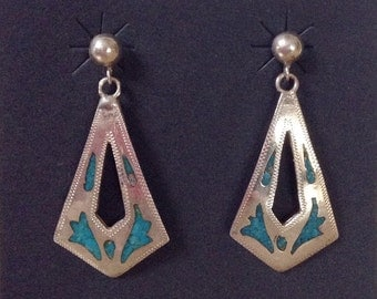 Vintage Sterling Silver Turquoise Inlay Post Earrings 925, Southwestern Jewelry Hallmark