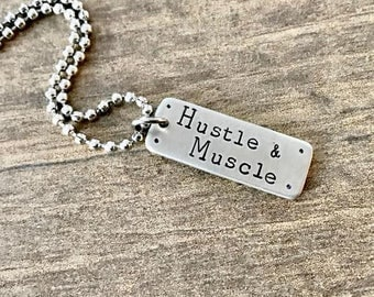 Fitness Jewelry, Hustle, Necklace, Sports Jewelry, Hustle and Muscle, Weightlifting, Fitness Gift