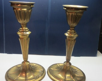 Antique Old Solid Brass Bronze Candlesticks Candle Holders Original Patina