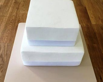 "Square Cake Board, Latte Beige, Mat Finish 3mm Acrylic, Sizes  7"", 9"", 11"", 13"", 15"" & 17"""