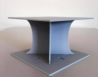 "Plain Square Light Grey Mat Acrylic Cake Pillars/Cake Separators, for Wedding / Party Cakes 10cm 4"" High, Size 6"" 7"" 8"" 9"" 10"" 11"" 12"""