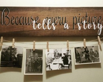 Because Every Picture Tells A Story, Rustic Picture Display, Rustic Photo Display, Art Display Board, Rustic Home Decor, Picture Display
