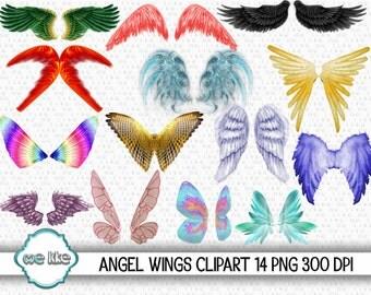 ANGEL WINGS Clip Art, Instant Download, Wings Clipart/Wings Scrapbooking/Digital Wings/Fairy Wings/Art Supplies/Design Elements Commercial