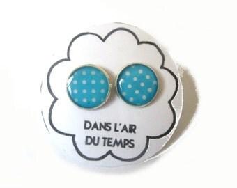 Polka dot light blue stud earrings - post earrings - blue earrings - polka dot earrings - minimalist earrings - teen gift - gift bridesmaid