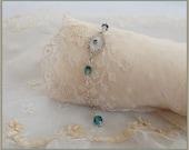 RESERVED Vintage Camphor Glass Bracelet - Sterling Silver Chain - Blue Crystal Beads