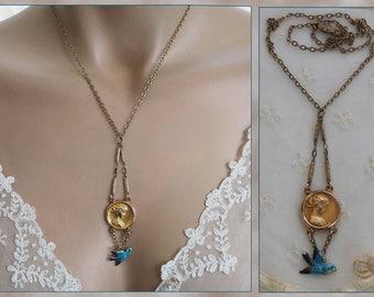 ANTIQUE Edwardian Gold Filled Art Nouveau Medallion of Beautiful Woman & Enamel Bird Necklace Assemblage Jewelry