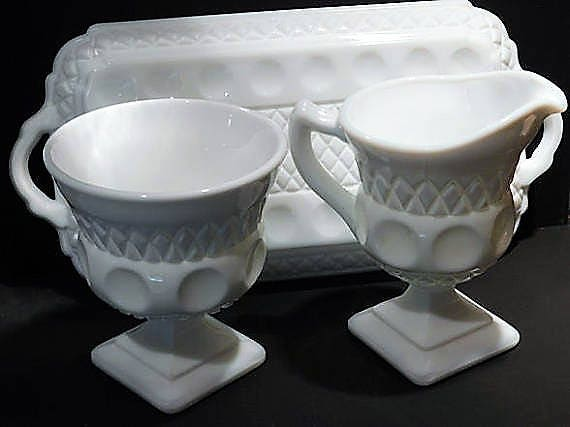 Milk Glass Wedding Decor Mid Century 1960s Vintage Sugar Creamer Tray Indiana Colony Thumbprint White Milk Glass Wedding Table Decoration