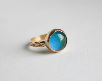 14/20 Kt Gold filled Smooth Bezel Mood Ring, Gold Mood Ring, Gold Round Mood Ring
