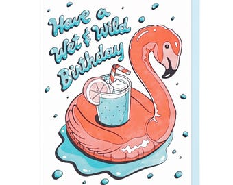 Wet & Wild Birthday Letterpress Card