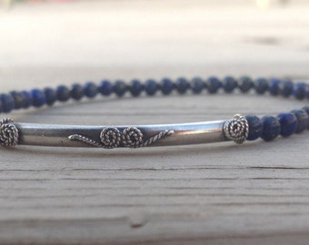 Dainty Lapis Lazuli stretch bracelet with 35mm Sterling Silver Bali tube bead