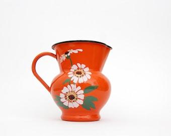 Vintage Enamel Milk Jug // Rare Orange Floral 50's Westen Due Leoni Bassano Enamelware