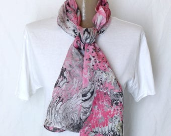 "Flamingo Rock marbled silk scarf 11"" x 60"""