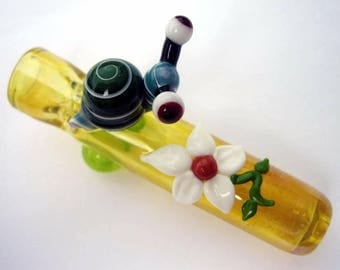 Snail Chillum - Silver fumed - color changing - glass snail - glass chillum
