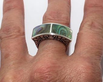Unusual Vintage Abalone Shell Sterling Silver Statement Ring Sz 6