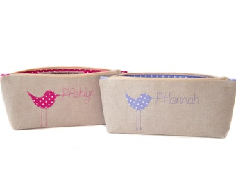 Personalised Pencil Case // Birdie Design // Choose your colour // Gift for her