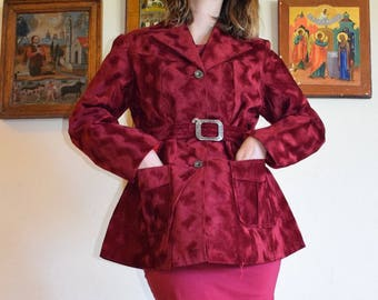 70's Wavy Psychedelic Textured Velvety Jacket